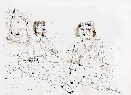 A scrawled illustration of a man and a woman in a boat. The woman is pointing at a plastic bottle beside them. The man, unmoved, stares into the distance.